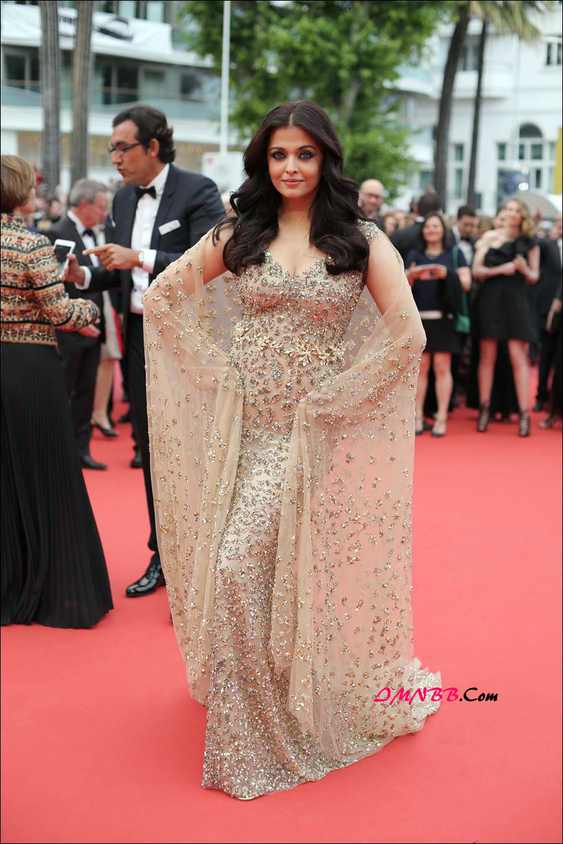 Aishwarya Rai Bachchan Looks Stunning in A Golden Ali Younes Couture Gown @ Cannes Film Festival 2016.