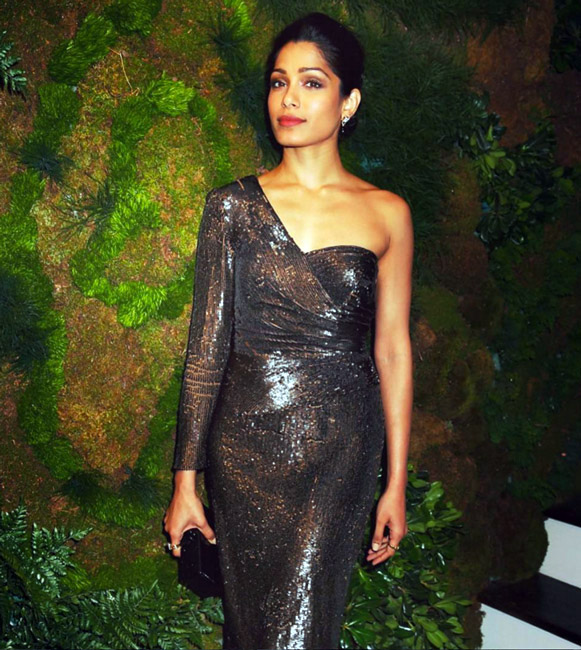 Celebrities Wearing Metallics This Party Season - Freida Pinto