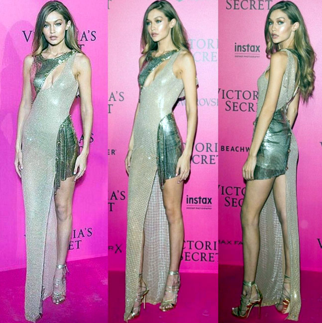Celebrities Wearing Metallics This Party Season - Gigi Hadid